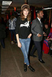 Alexa Chung wore a JW Anderson for Topshop jumper at Moschino Cheap & Chic.