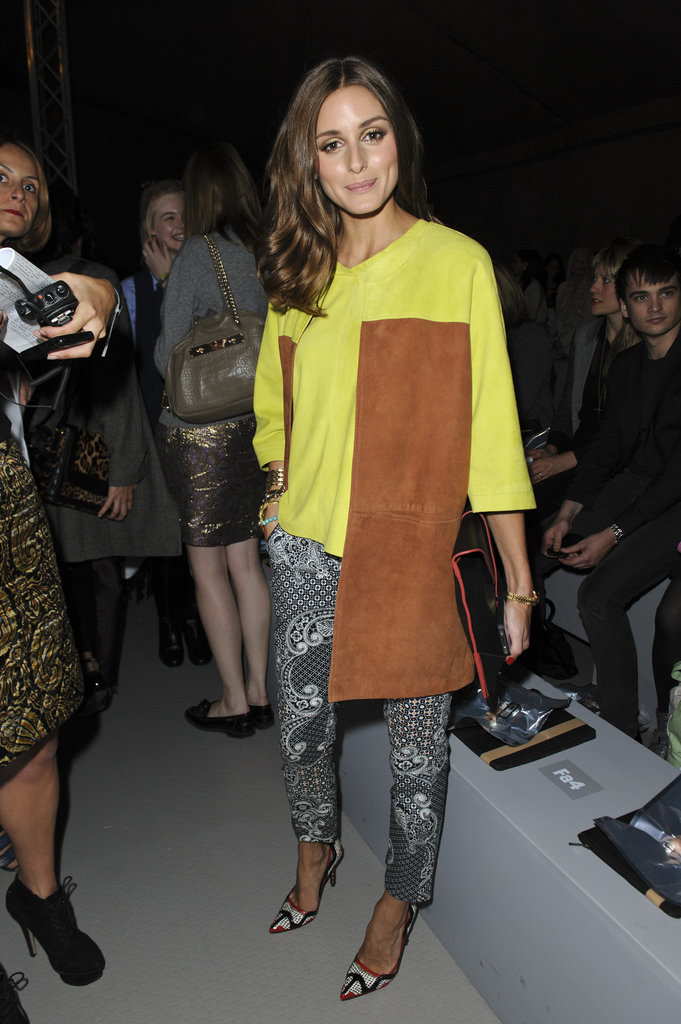 Olivia Palermo colour blocked at Topshop Unique.