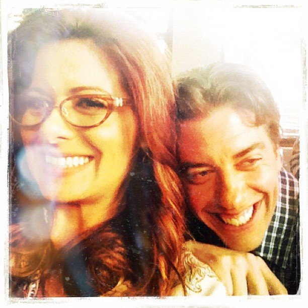 Smash costars Debra Messing and Christian Borle were all smiles on set. Source: Instagram user therealdebramessing