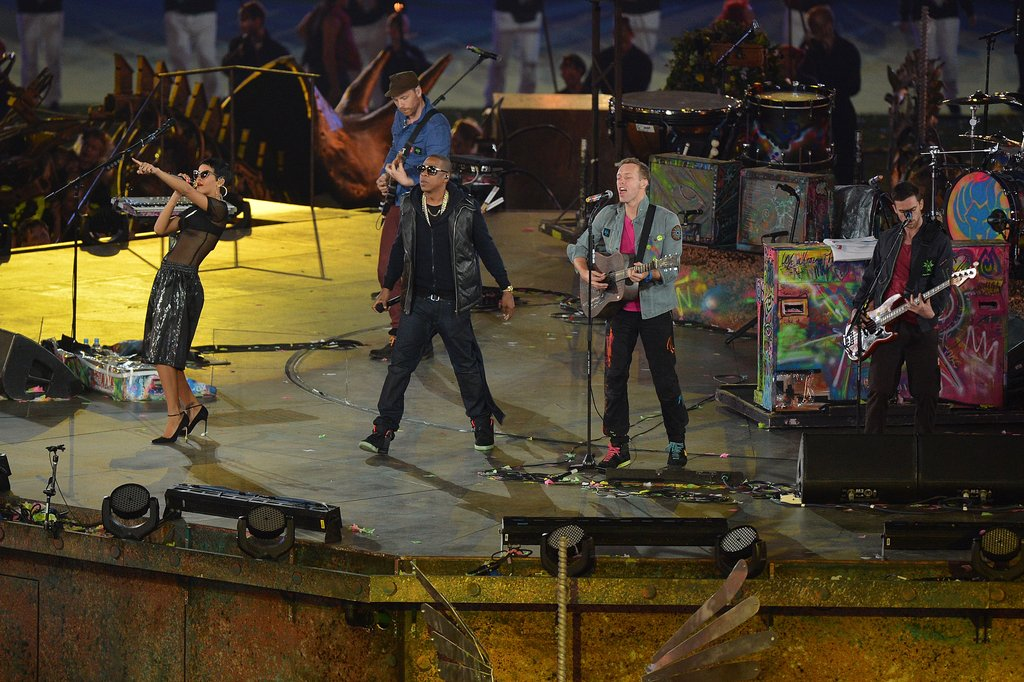 Chris Martin, Jay-Z, and Rihanna all performed together for the London Paralympics closing ceremony.