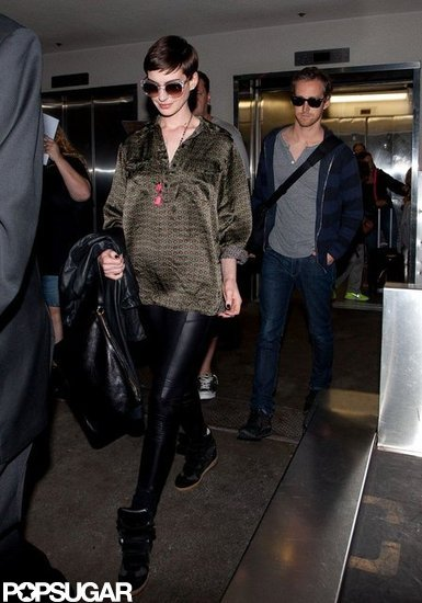 Anne Hathaway wore leather leggings.