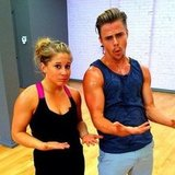 Shawn Johnson and Derek Hough worked up a sweat practicing for DWTS. Source: Instagram user derekhough