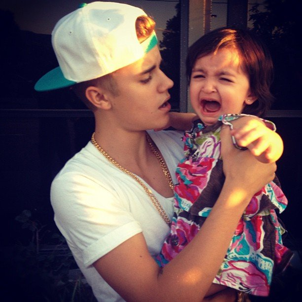 Justin Bieber met with a tiny — and mildly upset — fan. Source: Instagram user justinbieber