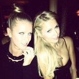 Paris Hilton and Nicky Hilton at Diane von Furstenberg's dinner party during NYFW. Source: Instagram user nickyhilton