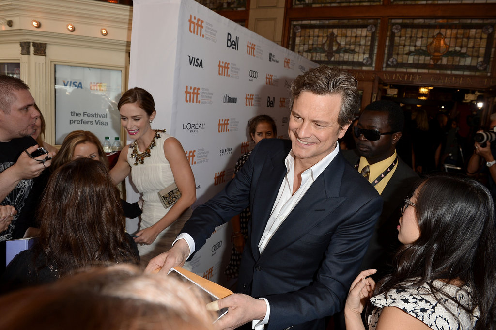 Colin Firth greeted fans.