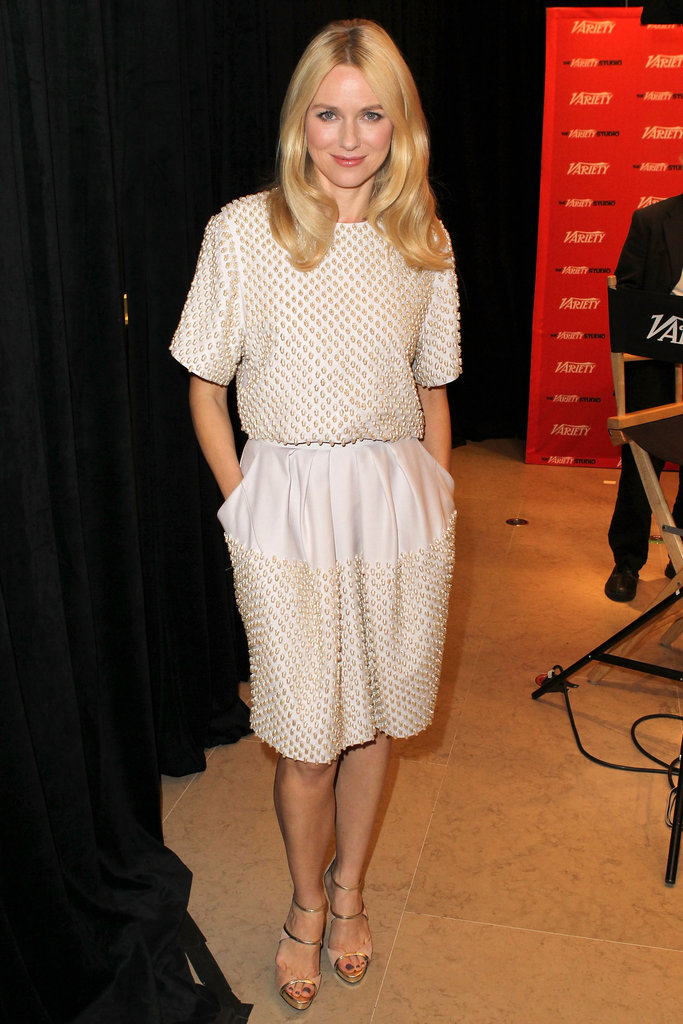 Naomi Watts chose an ultratextured cream-coloured day dress for her appearance at the Variety studio.