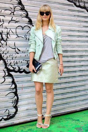 Shades of minty green meld seamlessly in this ladylike-meets-cool girl mashup.