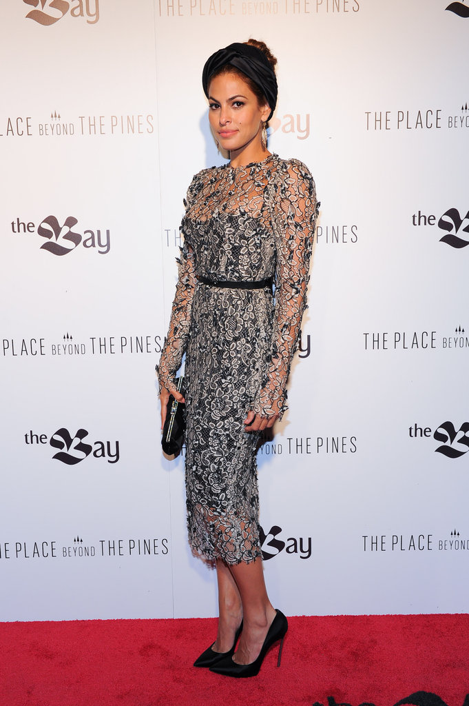 Eva Mendes took a risk with this semisheer lace Dolce & Gabbana dress, even more so by pairing it with a Prada turban, but it seems to evoke a retro bombshell vibe more than ever. What do you think of her The Place Beyond the Pines premiere look?