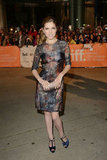 Anna Kendrick wore an ultra-sheer Mulberry dress with navy T-strap sandals for the premiere of The Company You Keep.