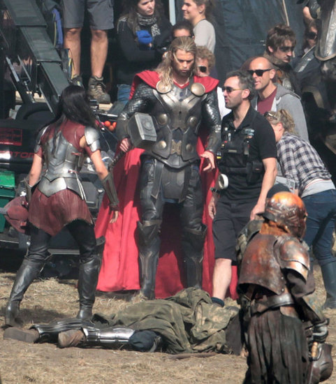 Chris Hemsworth on the set of the Thor sequel.