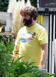 Zach Galifianakis wore a yellow t-shirt on the set of The Hangover Part III.
