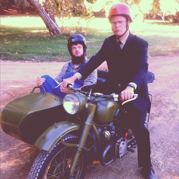 Rainn Wilson showed off a two-seater on the set of The Office. Source: Instagram user rainnwilson