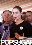 Angelina Jolie spoke in Jordan.