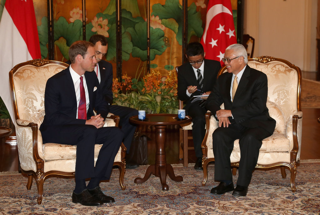 Prince William chatted with Tony Tan.