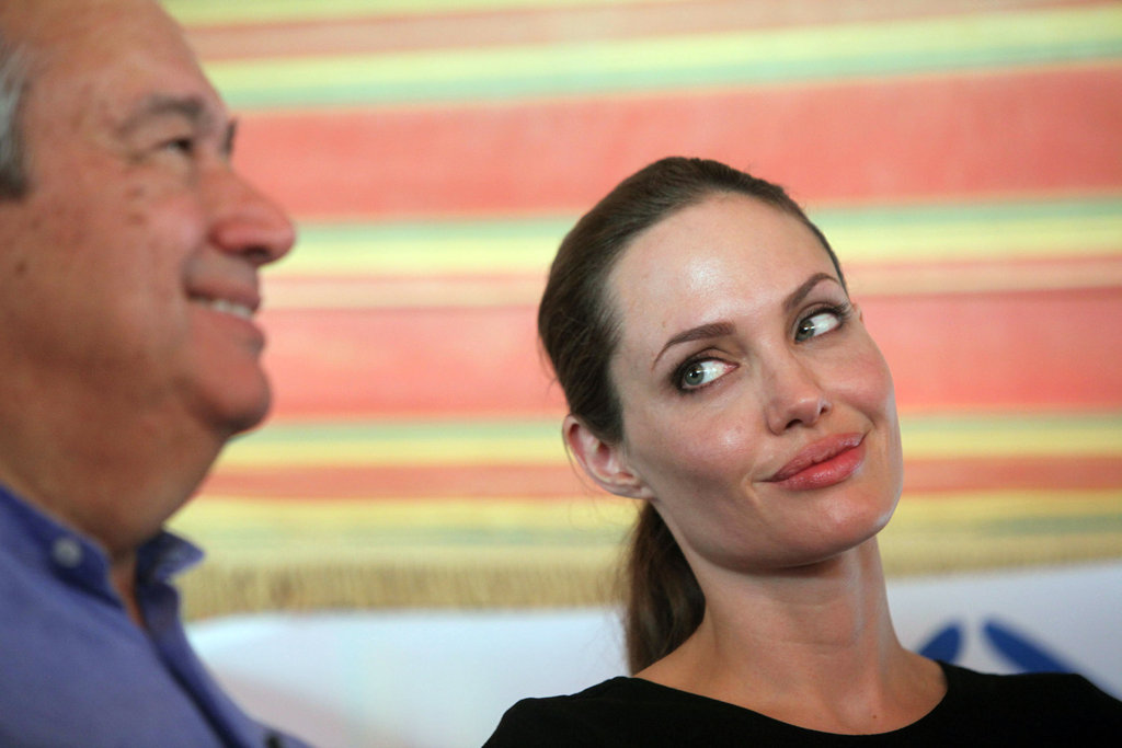 Angelina held the press conference with UNHCR Commissioner Antonio Guterres.