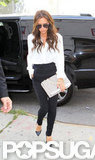 Victoria Beckham wore white and black.