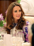 Kate Middleton chatted at the table.