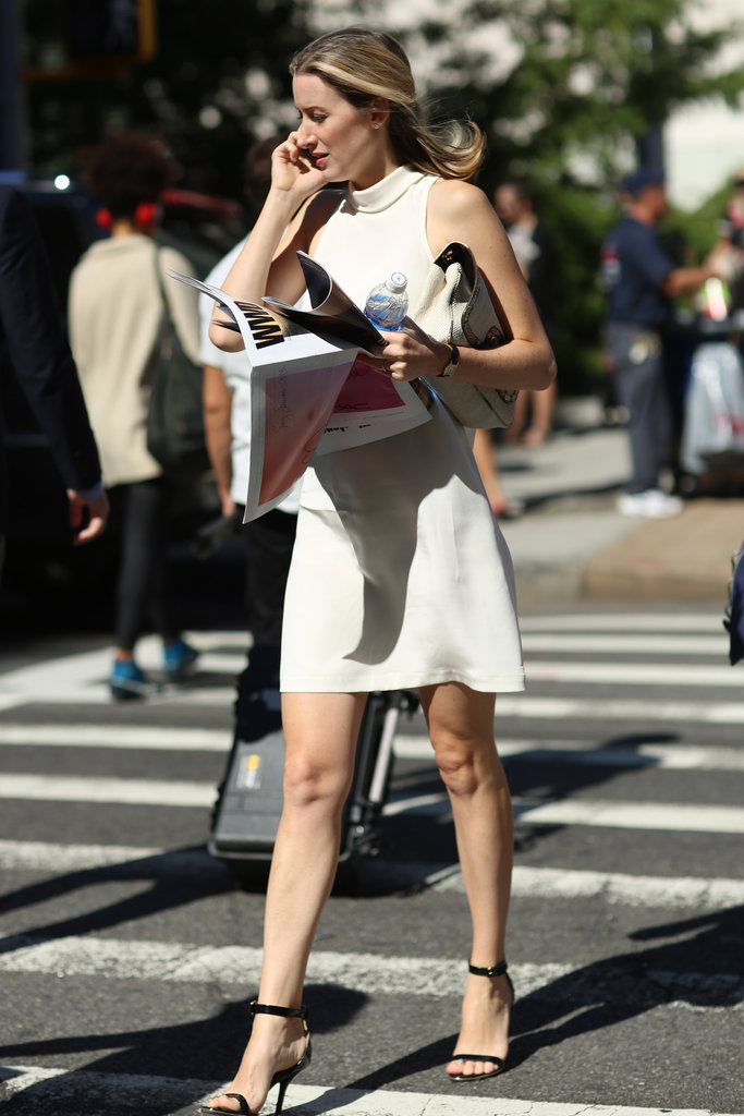 We love the simplicity of an LWD made just a little sexier with ankle-strap heels. Source: Greg Kessler