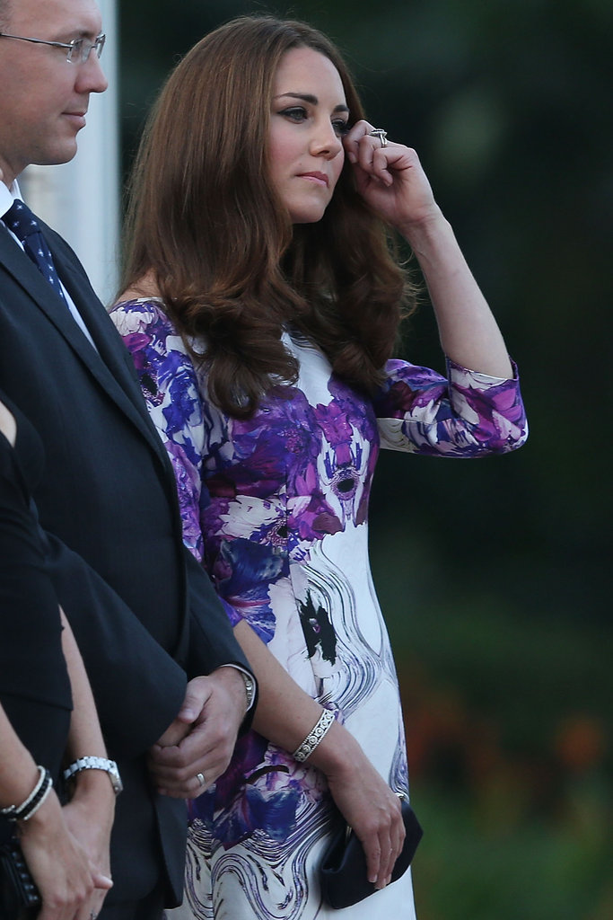 Kate wore her hair down with curly tips.