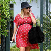 Reese Witherspoon Wearing Red Printed Dress