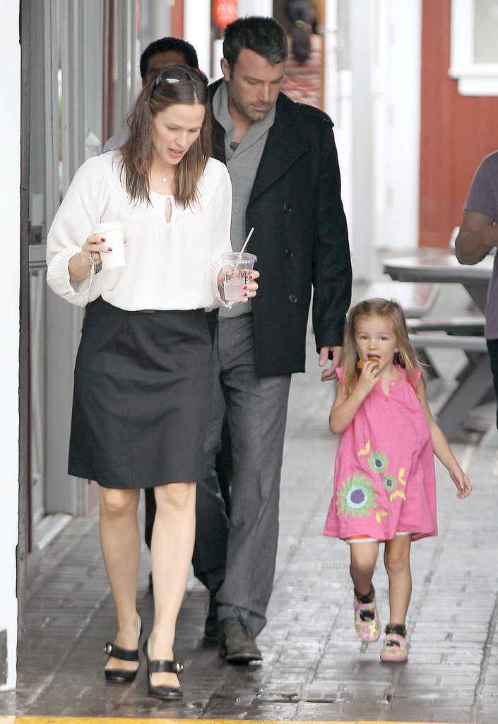 Jennifer Garner carried a drink for Seraphina with Ben Affleck close behind.