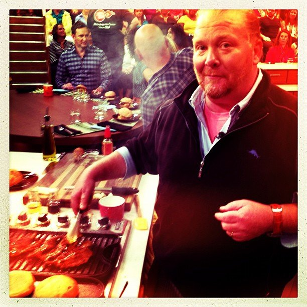 Questlove snapped a photo of Mario Batali grilling up a storm. Source: Instagram user questlove
