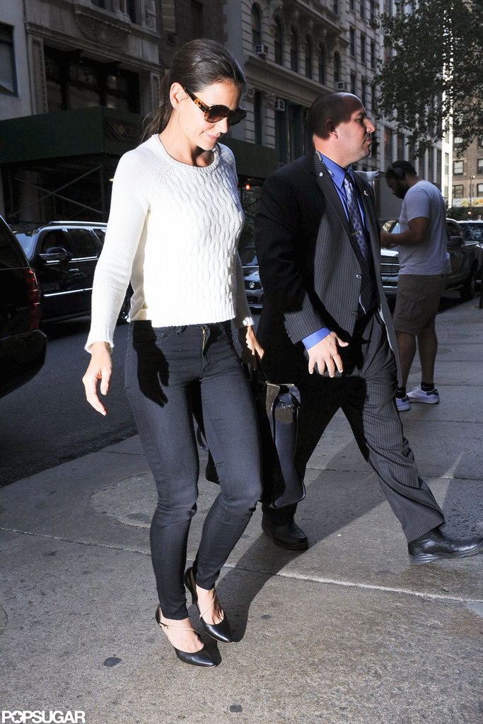 Katie Holmes headed into lunch in NYC.