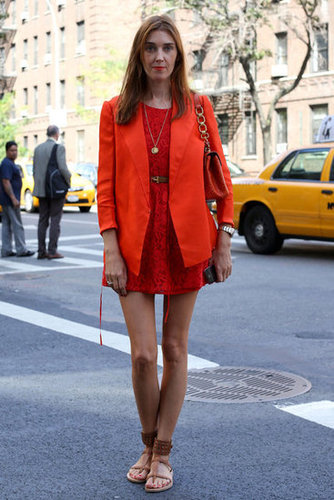 Red on red made for a statement-making look, but we especially love the juxtaposition of a great pair of flat sandals.