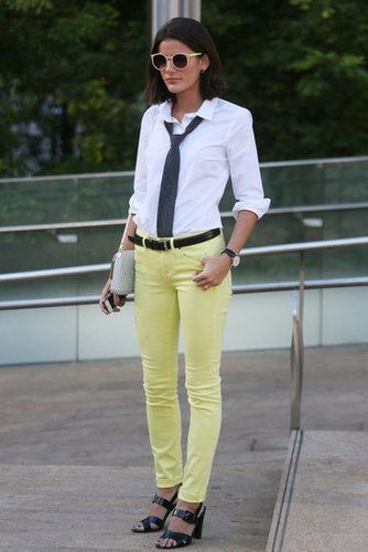 Borrowed-from-the-boys never looked so fresh, courtesy of a pair of citrus-hued skinnies. Source: Greg Kessler
