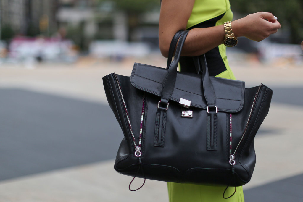 Spotted! Another gorgeous Phillip Lim Pashli in a black that popped against this neoprene sheath.