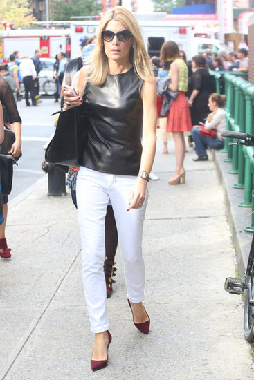 Take note: a leather top is an easy way to dress up skinnies. Source: Greg Kessler