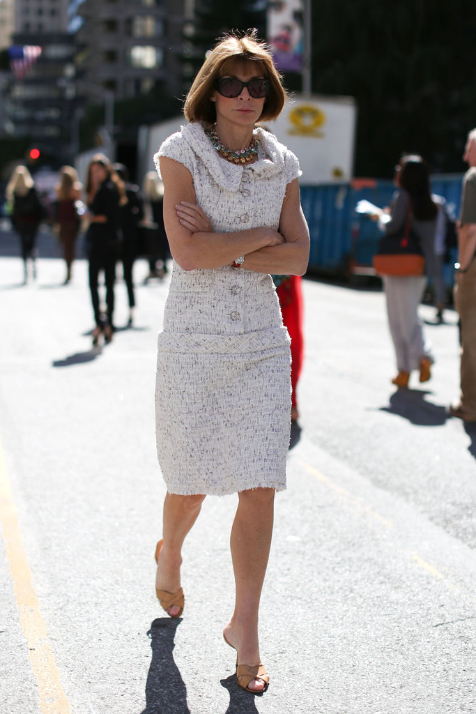 Anna Wintour made the rounds in her brand of chic, polished dressing — and her signature Manolo Blahniks.