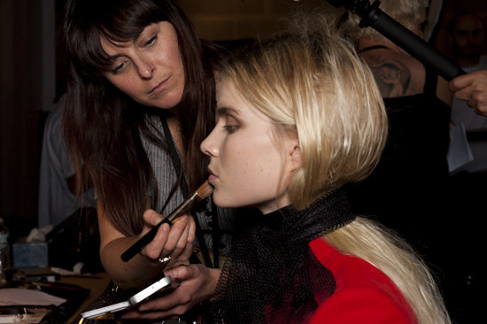 """The designers had one request for key makeup artist Diane Kendal: """"Make the girls look cool."""" Working with MAC, Kendal created a urban-chic palette that included natural skin, no lip pigment, and diffused-brown eye shadow."""