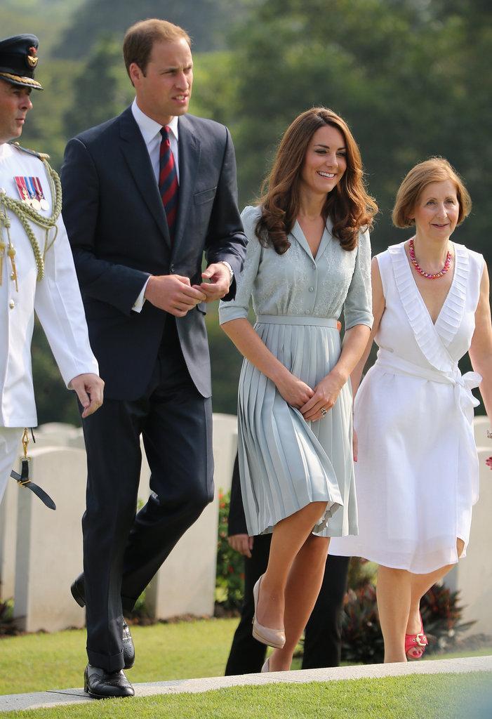 Kate Middleton and Prince William walked through the Kranji War Memorial in Singapore.