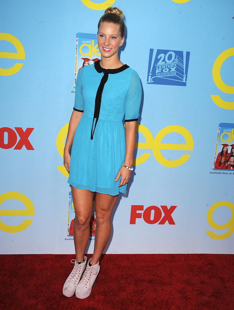 Heather Morris sported a high bun.