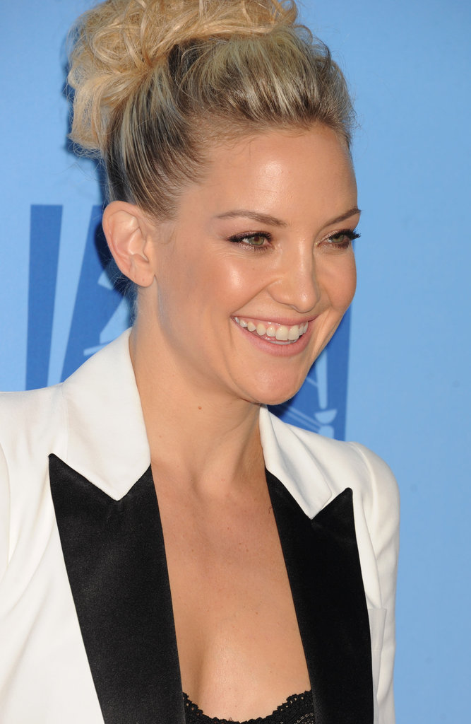 Kate Hudson hit the red carpet with a high bun.