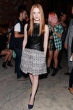 Jessica Chastain stepped out for Proenza's Spring show in a peplum leather top and a tweedy skirt.