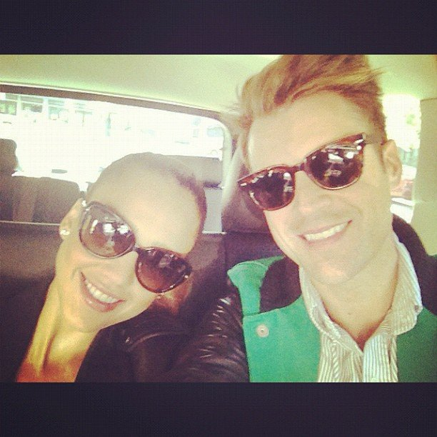 Jessica Alba and Brad Goreski cuddled up in the car on the way to Ralph Lauren. Source: Instagram user jessicaalba