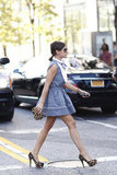 Miroslava Duma strutted her stuff in a sweet mini and standout leopard-print add-ons.