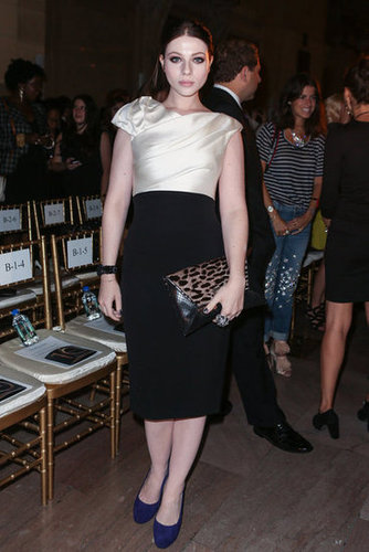 Michelle Trachtenberg opted for a chic black and white look at Marchesa.