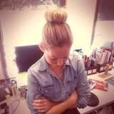 I jumped on Ali, our fashion ed, when I saw her amaze bun. It's all about the hair donut people. Hair. Donut.