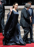 Angelina Jolie donned a long black dress.