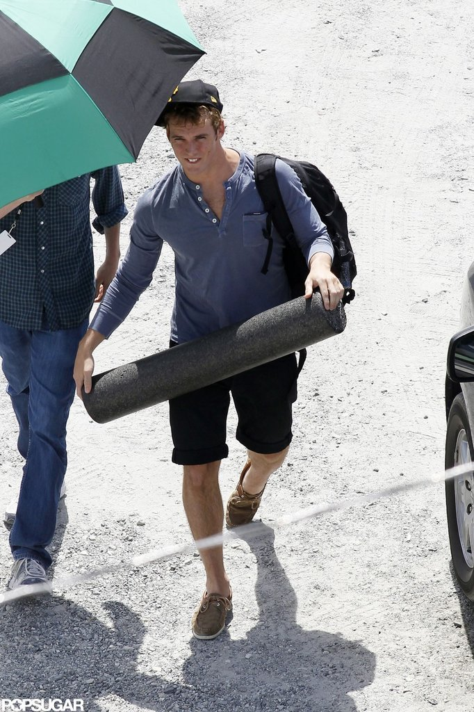 Sam Claflin got to the set of Catching Fire.