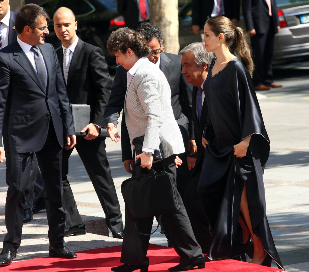 Angelina Jolie arrived with several others.