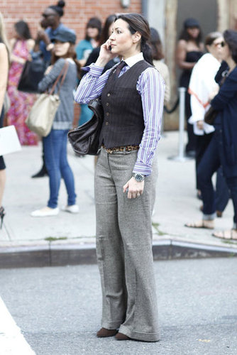 Channeling Diane Keaton's Annie Hall look in tailored menswear staples. Source: Greg Kessler