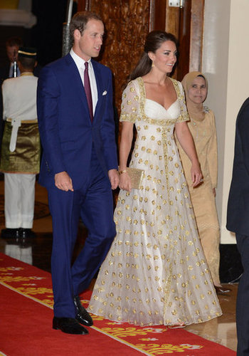 The royal couple looked nothing short of glamorous during the Diamond Jubilee tour. Here, Kate Middleton toted a glittery gold Wilbur & Gussie clutch — a perfect match to her already scene-stealing Alexander McQueen gown at a dinner with Malaysia's Head of State.