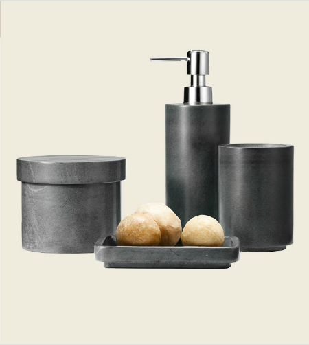 Harbor Large Bath Canister in Gray ($13), Harbor Soap Dish in Gray ($10), Harbor Soap Pump in Gray ($10), Harbor Bath Tumbler in Gray ($10)