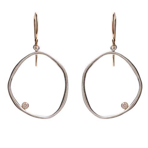 Jamie Joseph Organically Crafted Circle Earrings with Diamond