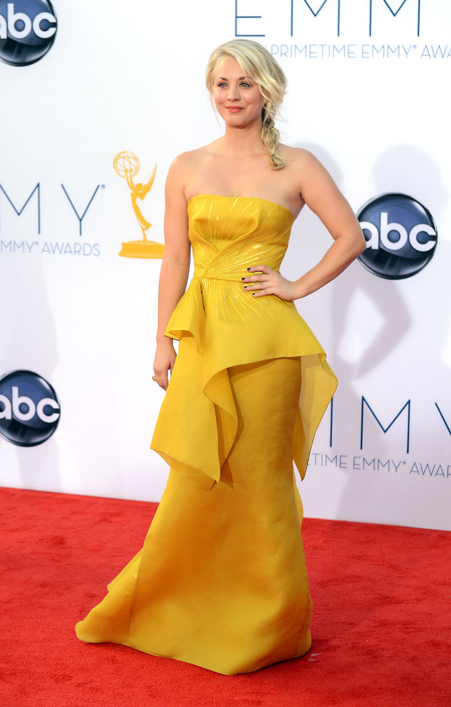 The Big Bang Theory's Kaley Cuoco looked bright and sunny at the Emmys.