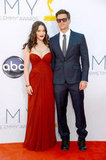 2 Broke Girls costars Kat Dennings and Nick Zano posed together at the Emmys.